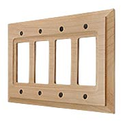 Alder Wood Unfinished Quad-GFI Switch Plate (item #R-010AMT-180R4)
