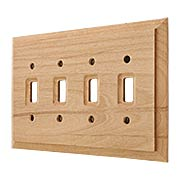 Alder Wood Unfinished Quad-Toggle Switch Plate (item #R-010AMT-180T4)