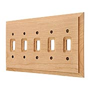 Alder Wood Unfinished 5-Gang Toggle Switch Plate (item #R-010AMT-180T5)