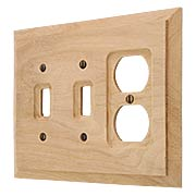 Alder Wood Unfinished Double Toggle/Duplex Combination Switch Plate (item #R-010AMT-180TTD)