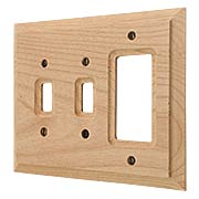 Alder Wood Unfinished Double Toggle/GFI Switch Plate (item #R-010AMT-180TTR)