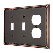 Imperial Bead Double Toggle/Duplex Combination Switch Plate (item #R-010AMT-74TTDX)