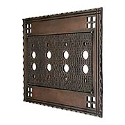 Arts and Crafts Quad Push Button Switch Plate In Oil-Rubbed Bronze (item #R-010CH-SWM4BAC)