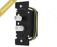 Premium 3-Way White Push Button Universal Dimmer Switch with True Mother-of-Pearl Buttons (item #R-010FD-WPD3-CLX)