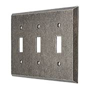 Industrial Triple Toggle Switch Plate with Galvanized Finish (item #R-010II-217)