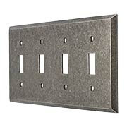 Industrial Quad Gang Toggle Switch Plate with Galvanized Finish (item #R-010II-222)