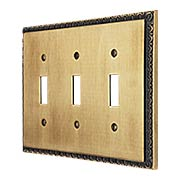 Egg & Dart Design Triple Toggle Light Switch Plate In Antique-By-Hand Finish (item #R-010II-EAD-3T-ABH)