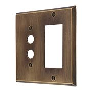 Traditional Forged Brass Push Button / GFI Combination Switch Plate in Antique-by-Hand (item #R-010II-FBSP-SG-ABH)