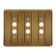Streamline Deco Push Button Switch Plate - Triple Gang in Antique-By-Hand (item #R-010II-SLSP-3S-ABH)