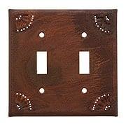 Pierced Country Tin Double Toggle Switch Plate (item #R-010IW-789DSX)