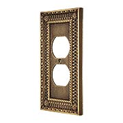 Pisano Duplex Outlet Cover Plate In Antique-By-Hand (item #R-010MG-170-ABH)