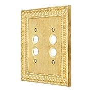 Pisano Double Gang Push Button Switch Plate In Unlacquered Brass (item #R-010MG-173X)