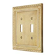 Pisano Double Gang Toggle Switch Plate In Unlacquered Brass (item #R-010MG-174X)