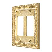 Pisano Double Gang GFI Cover Plate In Unlacquered Brass (item #R-010MG-175X)