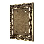 Pisano Double Gang Blank Cover Plate In Antique-By-Hand (item #R-010MG-177-ABH)