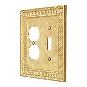 Pisano Toggle / Duplex Combination Switch Plate In Unlacquered Brass (item #R-010MG-178X)