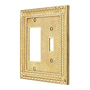 Pisano Toggle / GFI Combination Switch Plate In Unlacquered Brass (item #R-010MG-180X)