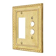 Pisano Push Button / GFI Combination Switch Plate In Unlacquered Brass (item #R-010MG-181X)