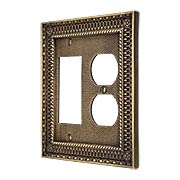 Pisano Duplex / GFI Combination Cover Plate In Antique-By-Hand (item #R-010MG-182-ABH)