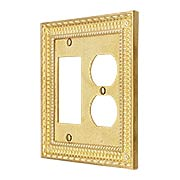 Pisano Duplex / GFI Combination Cover Plate In Unlacquered Brass (item #R-010MG-182X)