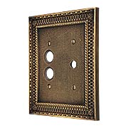 Pisano Push Button / Rotary Dimmer Combination Switch Plate In Antique-By-Hand (item #R-010MG-183-ABH)
