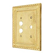 Pisano Push Button / Rotary Dimmer Combination Switch Plate In Unlacquered Brass (item #R-010MG-183X)