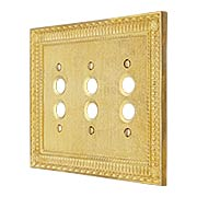 Pisano Triple Gang Push Button Switch Plate In Unlacquered Brass (item #R-010MG-184X)