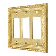 Pisano Triple Gang GFI Cover Plate In Unlacquered Brass (item #R-010MG-185X)