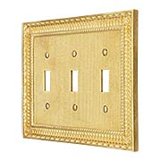 Pisano Triple Gang Toggle Switch Plate In Unlacquered Brass (item #R-010MG-186X)