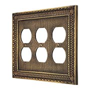 Pisano Triple Gang Duplex Outlet Cover In Antique-By-Hand (item #R-010MG-187-ABH)