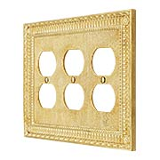 Pisano Triple Gang Duplex Outlet Cover In Unlacquered Brass (item #R-010MG-187X)
