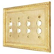 Pisano Quad Gang Push Button Switch Plate In Unlacquered Brass (item #R-010MG-188X)