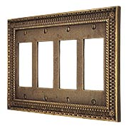 Pisano Quad Gang GFI Cover Plate In Antique-By-Hand (item #R-010MG-189-ABH)