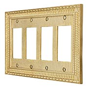 Pisano Quad Gang GFI Cover Plate In Unlacquered Brass (item #R-010MG-189X)