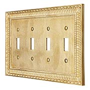 Pisano Quad Gang Toggle Switch Plate In Unlacquered Brass (item #R-010MG-190X)