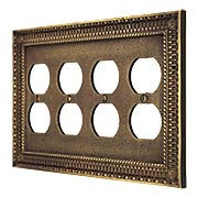 Pisano Quad Gang Duplex Outlet Cover Plate In Antique-By-Hand (item #R-010MG-191-ABH)