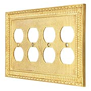 Pisano Quad Gang Duplex Outlet Cover Plate In Unlacquered Brass (item #R-010MG-191X)
