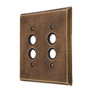 Distressed Bronze Double Push-Button Switch Plate (item #R-010MG-255)