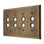 Distressed Bronze Quad Push-Button Switch Plate (item #R-010MG-266)