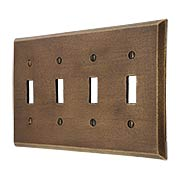 Distressed Bronze Quad-Gang Toggle Switch Plate (item #R-010MG-267)