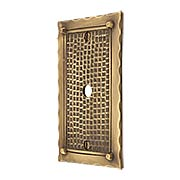 Bungalow Style Single Gang Cable Outlet Cover Plate In Solid Cast Brass (item #R-010MG-BGLW-1CX)