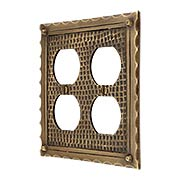 Bungalow Style Double Duplex Outlet Cover Plate In Solid Cast Brass (item #R-010MG-BGLW-2DX)