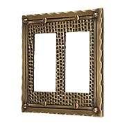 Bungalow Style Double GFI Outlet Cover Plate In Solid Cast Brass (item #R-010MG-BGLW-2GX)