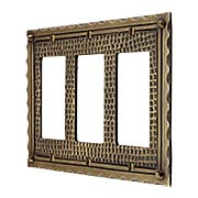 Bungalow Style Triple GFI Outlet Cover Plate In Solid Cast Brass (item #R-010MG-BGLW-3GX)