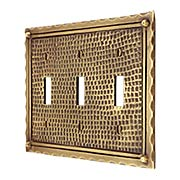 Bungalow Style Triple Toggle Switch Plate In Solid Cast Brass (item #R-010MG-BGLW-3TX)