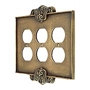 Art Nouveau Triple Outlet Cover Plate In Antique-By-Hand Finish (item #R-010MG-CP3D-ABH)