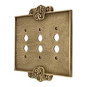 Art Nouveau Triple Push Button Cover Plate In Antique-By-Hand Finish (item #R-010MG-CP3PB-ABH)