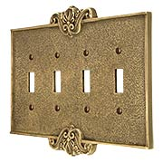 Art Nouveau Quad Gang Toggle Switch Plate In Antique-By-Hand Finish (item #R-010MG-CP4T-ABH)
