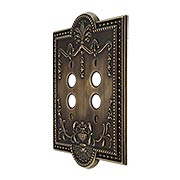 Como Double Push Button Switch Plate in Antique-By-Hand (item #R-010SE-287-ABH)