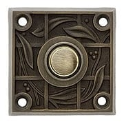 Solid Brass Vine & Trellis Pattern Doorbell Button In Antique Brass (item #R-010WS-1618-AB)